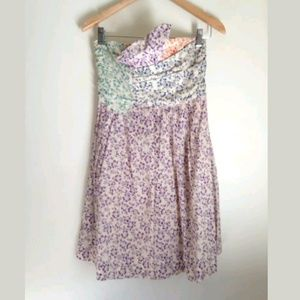 See By Chloe Floral Strapless Dress Sz 2